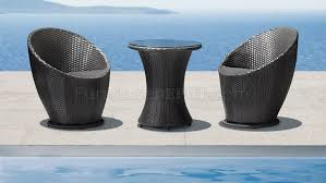 black weave modern 3pc outdoor lounge swivel chairs set w table