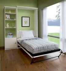 bedroom pull down bed with iron bed frame and striped blue