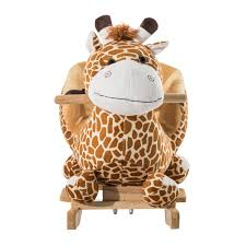 amazon com qaba kids plush rocking horse style giraffe theme