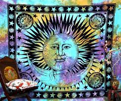 amazon com psychedelic celestial indian sun hippie hippy tapestry