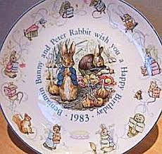 wedgewood rabbit 83 beatrix potter rabbit birthday plate 1983 nurseryware