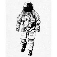 drawn astronaut illustration pencil and in color drawn astronaut