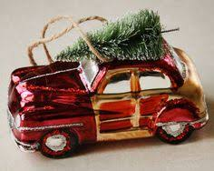 retro woody station wagon vintage car glass ornament with