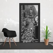 black and white newyork city time square wallpaper 3 piece door vintage black and white newyork city time square wallpaper 3 piece door mural 95cm x 210cm