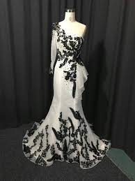 one arm black and white evening gowns from darius couture