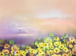 oil painting yellow golden daisy flowers in fields stock