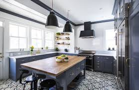 gorgeous ethnic patterned kitchen floor tile design in a modern