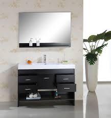 black bathroom storage with vanity mirror on white flower wa grezu