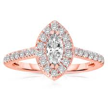 gold engagement rings 500 half carat marquise cut halo engagement ring in gold