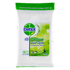 dettol antibacterial floor wipes with fresh lime mint 15 pack