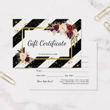 unique gift cards floral salon makeup artist gift cards black and white