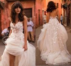 discount liz martinez beach wedding dresses 2017 3d floral v neck
