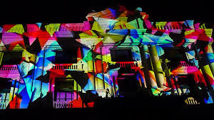 projection at light institute building facade superuber