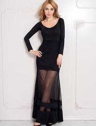black long sleeve with floor length sheer overlay fierce maxi