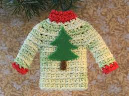 tiny sweater christmas ornament miniature crocheted sweater