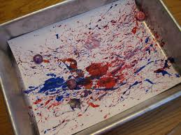 toddler approved red white and blue ball painting