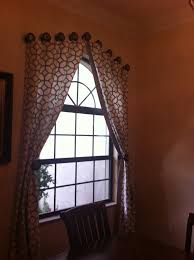 Arch Window Curtain Arched Window Treatment With Geometric Curtain And Rounded