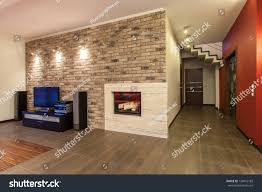 ruby house living room fireplace tv stock photo 124015189