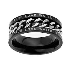 titanium chain rings images True love waits black chain ring men 39 s rings on jpg