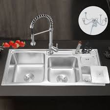 commercial stainless steel kitchen sink 3 bowl under topmount