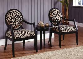 Zebra Accent Chair 3 Pc Black Finish Wood Accent Chairs And Side Table Upholstered