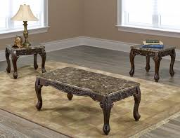 end table set of 2 if 2071 3pc marble coffee table set with 2 end tables and