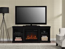 solid black mahogany wood fireplace tv stand with shelves of