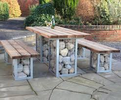 gabion picnic table and bench set landscaping pinterest