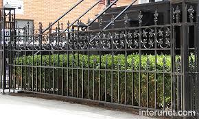 custom designed ornamental steel fence with hedge interunet