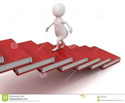 Stairs Book by 3d Man Walking Up On The Stairs Of Books Ladder Stock Photography