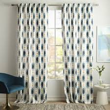 Teal Patterned Curtains Cotton Canvas Ikat Gem Curtain Blue Teal West Elm Kid Space