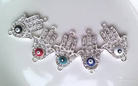 silver plated bracelet charms images 2018 silver plated alloy crystal sideways evil eye hand hamsa jpg