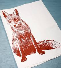 hand printed fox flour sack kitchen towels home kitchen u0026 pantry