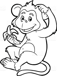 coloring book for children monkey stock vector art 490853734 istock