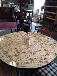 i tool old cassette tape covers glued them to a pub table and