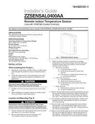 installer s guide zzsensal0400aa