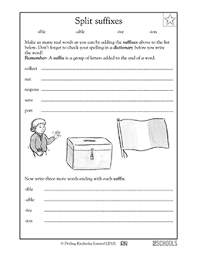 3rd grade reading writing worksheets suffixes ible able ive