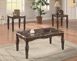 marble living room tables cherry finish classic 3pc coffee table set w faux marble tops