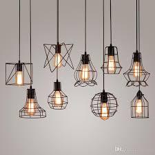 industrial hanging light fixtures new arrivals retro iron pendant light loft ls e27 birdcage
