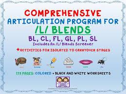 comprehensive l blends articulation unit bl cl fl gl pl sl