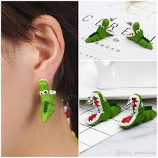 polymer clay stud earrings 2018 3d alligator polymer clay earrings handmade biting your ear