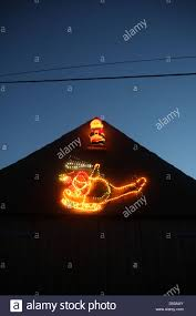 Christmas Lights On House by Father Christmas Helicopter Flashing Lights On House Roof In Wales