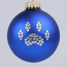 royal blue paw print ornament and cat paw print