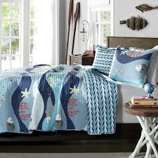 full queen blue serenity sea fish coral coverlet quilt bedspread set