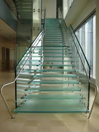 Glass Stair Banister Hip Chrome Handrail With Glass Step Foot As Inspiring Modern