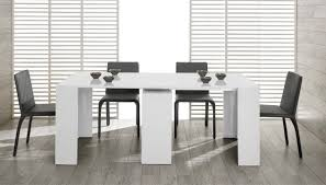 Modern White Dining Room Morph Modern Ultra Compact Extendable White Dining Table