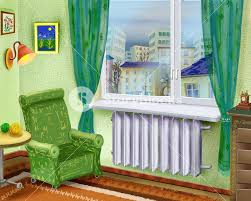 digital painting illustration of a cartoon room interior with