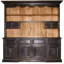 2 piece black distressed china cabinet real wood western rustic