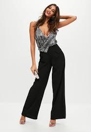 black sequin jumpsuit black sequin wide leg jumpsuit missguided