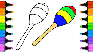 how to draw maracas for kids learn how to colorize with colored